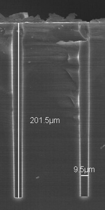 Existing processed depth for 10 micrometre large vias are  200 micrometres
