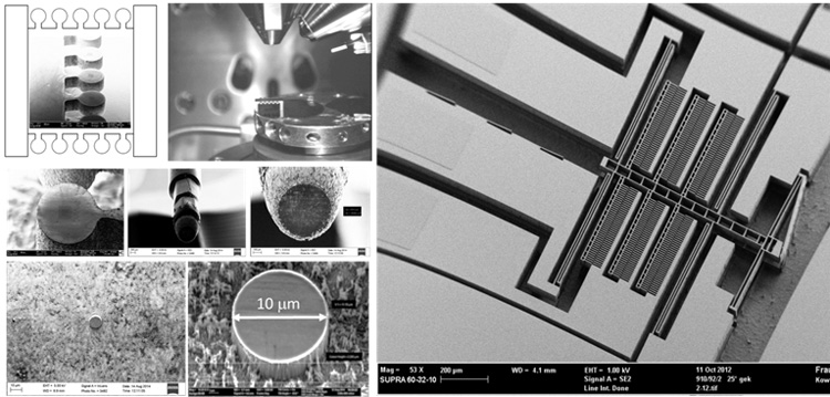 Fig. 2.1.  (left) Adama etch-based batch processing showing production of mounted diamond flat punch on steel holder for iNano IIT system. (right) MEMS-based IIT actuator developed by PTB and TUCh.